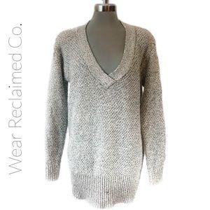 GARAGE Oversized Long Grey V-Neck Sweater